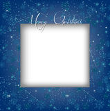 Голубая предпосылка снежинок зимы рождества с шаблоном карточки Стоковые Изображения RF