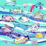 Голубая предпосылка с волнами и различными рыбами иллюстрация штока