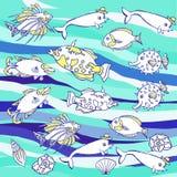 Голубая предпосылка с волнами и рыбами иллюстрация вектора