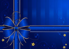 Голубая предпосылка с золот-голубым смычком Стоковые Изображения