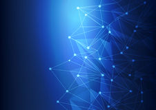 Голубая предпосылка с кругами, иллюстрация сетки абстрактной технологии вектора Стоковая Фотография RF