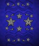Голубая предпосылка с морскими звёздами, волнами, рыбами Стоковые Фотографии RF