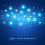 Голубая предпосылка с светами Стоковая Фотография