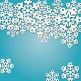 Голубая предпосылка с снежинками Стоковая Фотография RF