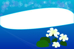 Голубая предпосылка с цветками Стоковое фото RF