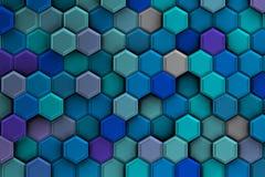 Голубая предпосылка с шестиугольниками 3d иллюстрация штока