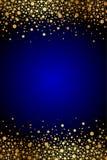 Голубая предпосылка с sparkles золота Стоковое Изображение RF