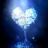 Голубая предпосылка bokeh сердца Стоковые Фотографии RF