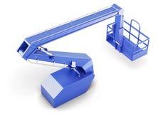 Голубая платформа автотелескопической вышки изолированная на белой предпосылке 3d ren Стоковое Фото