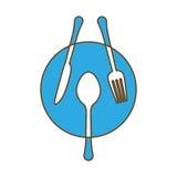голубая плита с изображением значка столового прибора иллюстрация штока