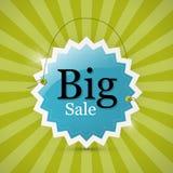 Голубая ретро большая бирка продажи - ярлык Стоковое фото RF
