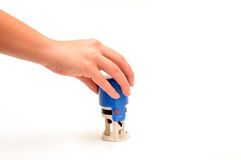 Голубая рука штемпеля Стоковое Изображение