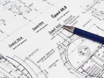 Голубая ручка на техническом чертеже Стоковая Фотография