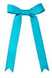 голубая сатинировка подарка смычка тесемка Изолировано на белизне Стоковое Фото