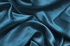 Голубая сатинировка текстуры шелк Стоковые Фото