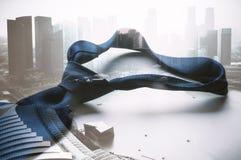 Голубая связь принятая с организацией бизнеса overlay предпосылка Стоковые Фотографии RF