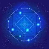 Голубая сияющая верхняя волшебная предпосылка света вектора Стоковая Фотография