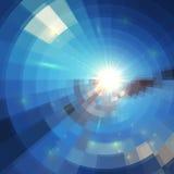 Голубая солнечность зимы в окне мозаики стеклянном Стоковая Фотография RF