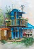 голубая станция неба реки шлюпок шлюпки Голубое караульное помещение на кучах Дом с балконом и цветками Ландшафт ЛЕТА Пастельная  Стоковое фото RF