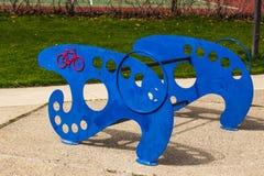 Голубая стойка велосипеда в местном парке Стоковое Изображение RF