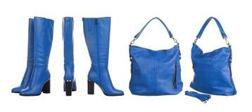 Голубая сумка и ботинки Стоковое Фото