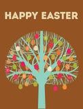 Голубая счастливая поздравительная открытка дерева пасхи с яичками внутри Стоковые Изображения RF