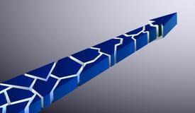Голубая сломанная стрелка указывая вверх на серую предпосылку Стоковые Фотографии RF