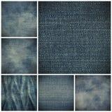 Голубая текстура джинсовой ткани демикотона Стоковое Изображение