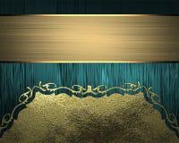 Голубая текстура с орнаментами золота и лентой золота Элемент для конструкции Шаблон для конструкции скопируйте космос для брошюр Стоковая Фотография RF