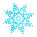 Голубая текстурированная снежинка изолированная на белизне Иллюстрация штока