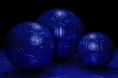 Голубая темная абстрактная предпосылка с сферой bamp отражения Стоковое Фото