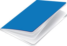 Голубая тетрадь с белыми бумагами для пользы школы Стоковые Фотографии RF