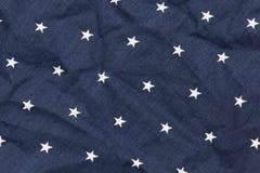 Голубая ткань с белыми звездами Стоковое Изображение RF