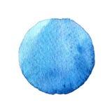 Голубая форма круга покрашенная при акварели изолированные на белой предпосылке акварель Цвета 2017 образца ультрамодные Стоковые Изображения RF