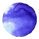 Голубая форма круга покрашенная при акварели изолированные на белой предпосылке акварель Цвета 2017 образца ультрамодные Стоковая Фотография RF