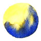 Голубая форма круга покрашенная при акварели изолированные на белой предпосылке акварель Цвета 2017 образца ультрамодные Стоковое Фото