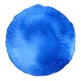 Голубая форма круга покрашенная при акварели изолированные на белой предпосылке акварель Цвета 2017 образца ультрамодные Стоковая Фотография