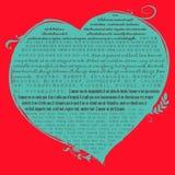 Голубая форма сердца на красной предпосылке с христианским стихом библии в 1 коринфянине 13 в много язык | Библейская цитата о вл Стоковые Фото