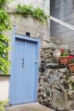 Голубая французская дверь Стоковые Изображения
