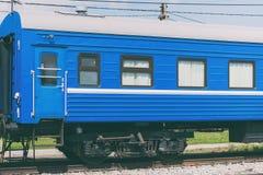 Голубая фура пассажирского поезда Стоковое Изображение RF