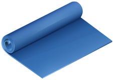 Голубая циновка йоги на белизне иллюстрация штока