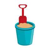 голубая чашка пляжа с песком и ложкой, графиком Стоковое фото RF
