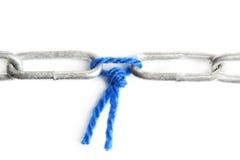 Голубая шерсть держит 2 части цепи совместно стоковые изображения rf