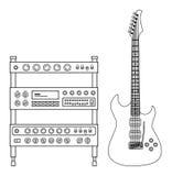 голубая электрическая гитара Стоковое Фото