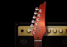 голубая электрическая гитара Стоковые Изображения
