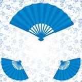 Голубая японская картина вентиляторов и цветков Стоковое фото RF