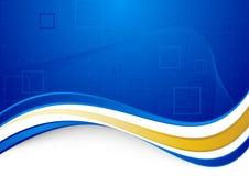Голубая communicational предпосылка с золотистой границей Стоковые Фотографии RF