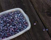 Голубики ягоды в шаре на деревянном столе Стоковые Изображения RF