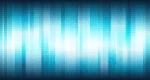 Голубое виртуальное пространство с вертикальными сияющими нашивками и цифровым бинарным массивом, абстрактной предпосылкой Стоковые Фото