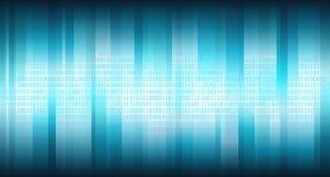Голубое виртуальное пространство с вертикальными сияющими нашивками и цифровым бинарным массивом, абстрактной предпосылкой Стоковое Изображение